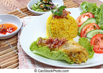 Close up Muslim yellow rice with chicken, Selective focus -...