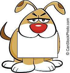 Cartoon angry dog holding a sign in it's mouth.