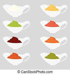 depicting - Color set icons depicting of different sauce...