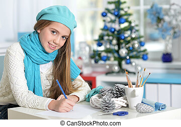 Stylish preteen girl - Portrait of smiling in blue beret and...