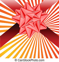 Red bow with a ribbon. Vector