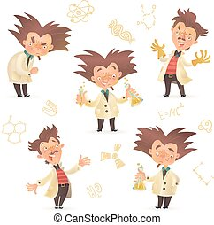 Stereotypic bushy haired mad professor wearing lab coat in...