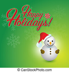 Happy holidays snowman sign red snowflake