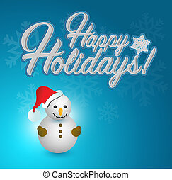 Happy holidays snowman sign blue snowflake