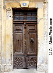 Old Wooden French Door - Old antique wooden french door and...