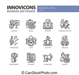 Business and fnance line design icons set - Busness and...