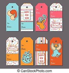 Christmas tags. Cozy Christmas label set