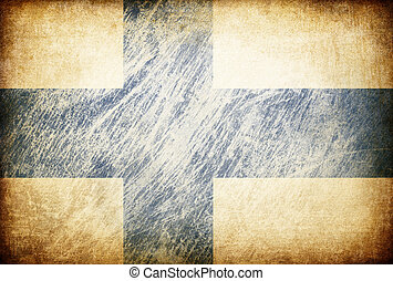 Grunge rubbed flag series of backgrounds. Finland.