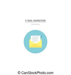 E-mail Icon. Vector letter in flat style - internet marketing concept.