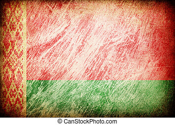 Grunge rubbed flag series of backgrounds. Belarus.