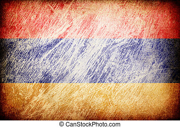 Grunge rubbed flag series of backgrounds. Armenia.