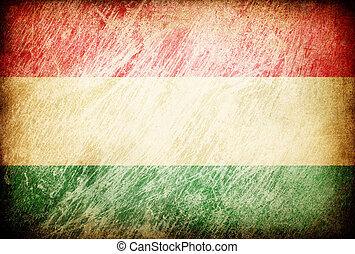 Grunge rubbed flag series of backgrounds. Hungary.