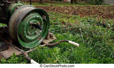 Electric winch and hand plow for plowing - Plowing the soil...
