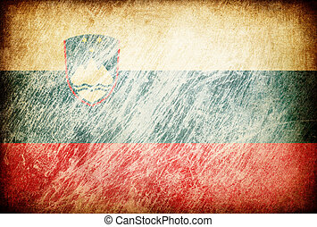 Grunge rubbed flag series of backgrounds. Slovenia.