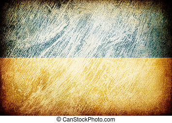 Grunge rubbed flag series of backgrounds. Ukraine.