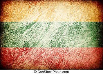 Grunge rubbed flag series of backgrounds. Lithuania.