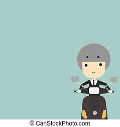 Business man going to work on motorcycle