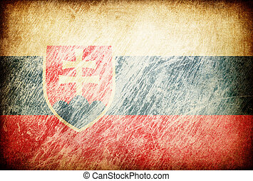 Grunge rubbed flag series of backgrounds. Slovakia.