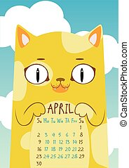 Print. Spotted yellow cat on blue sky background with...