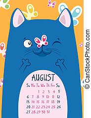 Print. Blue cat on the background of butterflies with a butterfly on his nose. August calendar