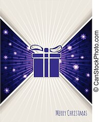 Christmas greeting with bursting purple christmas gift -...