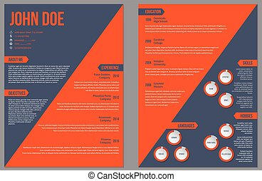 Two sided resume cv template with large orange stripe