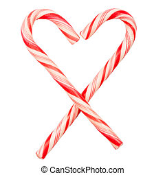 Christmas candy canes - Heart made of candy canes isolated...