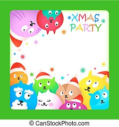 Christmas cat party card