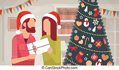 Couple Hold Present Decorated Gift New Year Merry Christmas...