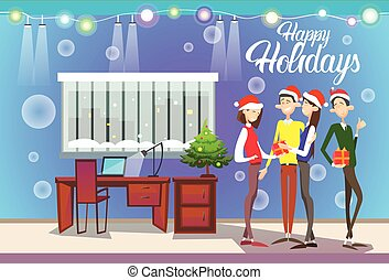 Businesspeople Celebrate Happy Holidays - Businesspeople...