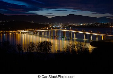 Tasman Bridge at night - Tasman Bridge in Hobart at night