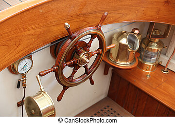 Wooden Rudder and navigation equipments of a sailing ship...