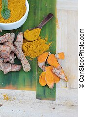 Turmeric powder and fresh root is herb.