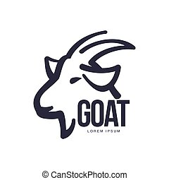 Side view goat head logo for meat and dairy products - Side...