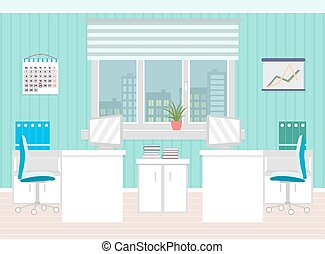 Office room interior including two work spaces with furniture, cityscape outside window.