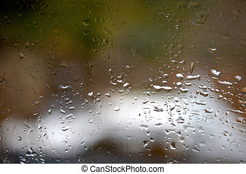 Rain drop on window. Water drops on the glass