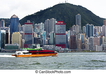 ferry fast moving in hong kong