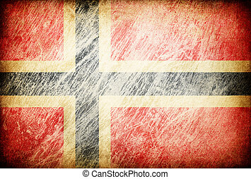 Grunge rubbed flag series of backgrounds. Norway.