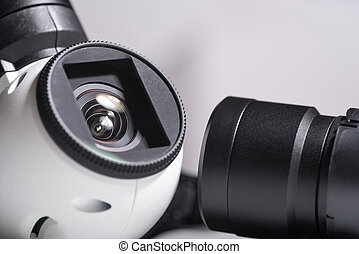 Close up of drone camera lenses - Watch everything. Close up...