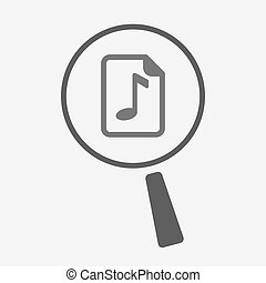 Isolated magnifier with a music score icon - Illustration of...