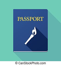 Long shadow passport with  a torch icon