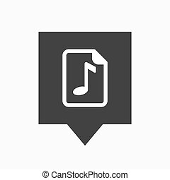 Isolated tooltip with a music score icon - Illustration of...