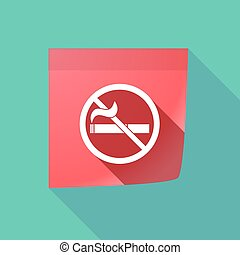 Long shadow note with a no smoking sign - Illustration of a...