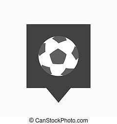 Isolated tooltip with  a soccer ball