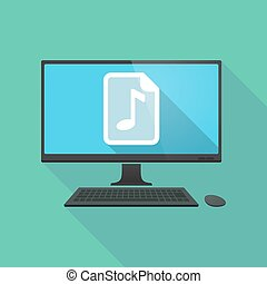 Long shadow pc with a music score icon - Illustration of a...