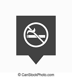 Isolated tooltip with a no smoking sign - Illustration of an...