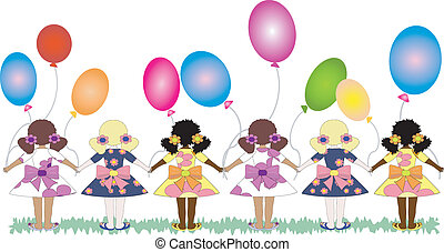 Girls back with balloons