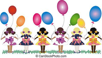 balões, meninas, costas