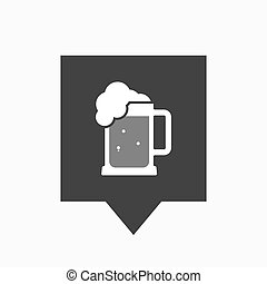 Isolated tooltip with  a beer jar icon