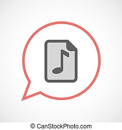 Isolated balloon with a music score icon - Illustration of...